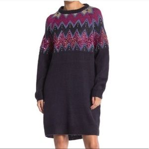 Solutions Navy Blue Sequined Sweater Dress Size M